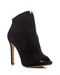 Vince Camuto Rora Peep Toe High Heel Booties Black