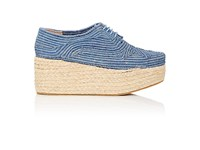 Robert Clergerie Women's Pintom Raffia Platform Oxfords Blue
