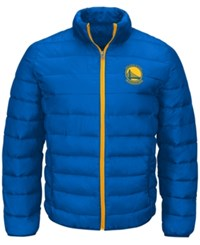 G3 Sports Men's Golden State Warriors Skybox Packable Quilted Jacket Blue Gold