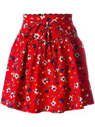 Marc Jacobs Painted Flower Print Skirt Women Silk Cotton Spandex Elastane 2 Red