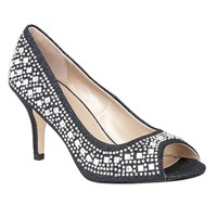 Lotus Serenity Diamante Peep Toe Courts Navy