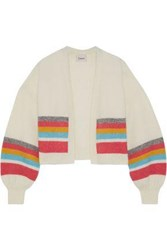 Charli Woman Cropped Striped Brushed Knitted Cardigan Ivory