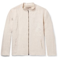 By Walid Collarless Raw Edged Linen Jacket Off White