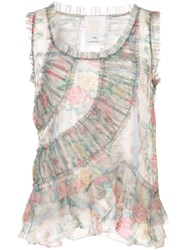 Anna Sui Sheer Ruched Vest Top Nude And Neutrals