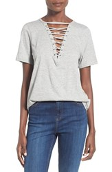 Women's Glamorous Lace Up Cotton Tee Grey Marle