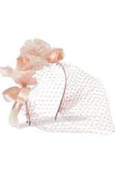 Jennifer Behr Lily Floral Appliqued Silk Organza And Satin Veiled Headband Pastel Pink