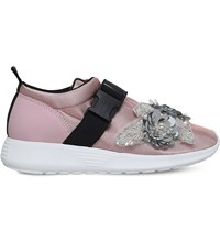 Kurt Geiger London Lawson Embellished Mesh Trainers Pale Pink