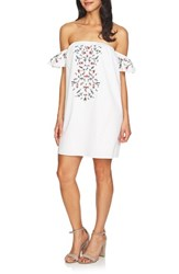 Cece Off The Shoulder Embroidered Dress Ultra White