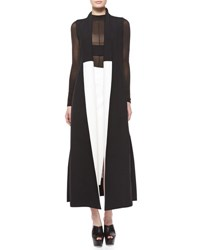 Narciso Rodriguez Colorblock Shawl Collar Long Vest Black White