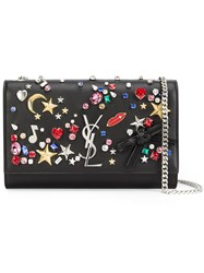 Saint Laurent Embellished 'Monogram' Chain Wallet Black