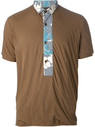 Kolor Floral Placket Polo Shirt Brown