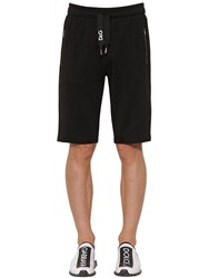 Dolce And Gabbana Logo Embroidered Cotton Jersey Shorts Black