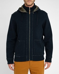 Harris Wilson Navy Anderson Double Face Zipped Hooded Cardigan