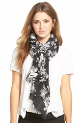 Badgley Mischka 'Winter Floral' Merino Wool Scarf Ivory Black