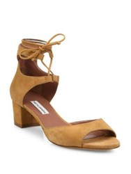 Tabitha Simmons Tallia Suede Lace Up Block Heel Sandals Camel Denim Kid Suede