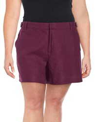 Lord And Taylor Plus Solid Linen Shorts Mulberry