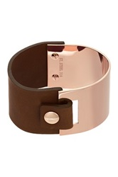 Liv Oliver Polished Metal Brown Leather Cuff No Color