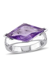 Sterling Silver Amethyst And White Sapphire Prism Ring Purple