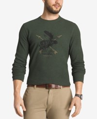 G.H. Bass And Co. Men's Front Graphic Crew Neck Thermal Dark Green