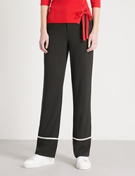 Moandco. Contrast Piping Straight Leg Crepe Trousers Black