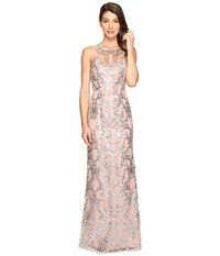Adrianna Papell Sequin Lace Sleevless Halter Gown Blush Silver Women's Dress
