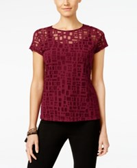 Inc International Concepts Short Sleeve Illusion Top Only At Macy's Glazed Berry