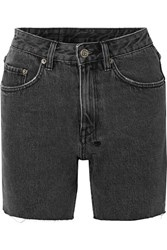 Ksubi Racer Frayed Denim Shorts Charcoal