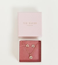 Ted Baker Rose Gold Glitter Button Earrings And Necklace Gift Set Rose Gold