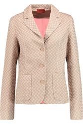 Missoni Metallic Crochet Knit Blazer Brown