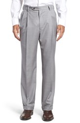 Berle Men's Pleated Solid Wool Trousers Light Grey