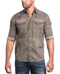 Affliction Men's Cold Fire Embroidered Graphic Print Long Sleeve Shirt