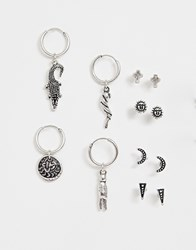 Reclaimed Vintage Inspired Earring Pack With Hoop And Stud Interest In Burnished Silver Exclusive To Asos