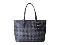 Tommy Hilfiger Julia Signature Jacquard Tote Navy White Tote Handbags Blue