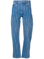 Thierry Mugler Stitched Baggy Jeans Blue