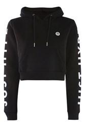 Hype Black Cropped Cut Out Hoodie By Black