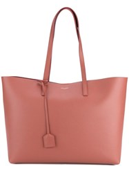 Saint Laurent Leather Shopping Tote Pink Purple