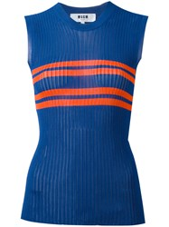 Msgm Striped Tank Top Blue