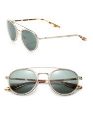 Barton Perreira Round 52Mm Acetate And Metal Sunglasses Champagne Green