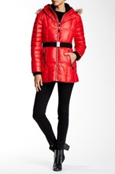 Andrew Marc New York Allison Genuine Coyote Fur Trimmed Quilted Jacket Red