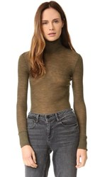 Alexander Wang T By Wooly Ribbed Fitted Turtleneck Forest