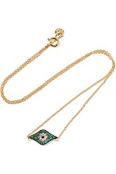 Kitten Eye Gold Plated Crystal Necklace Green Gold