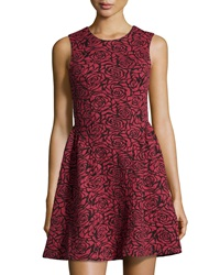 Dex Rose Jacquard Fit And Flare Dress Red