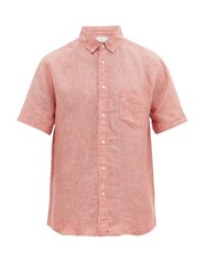 Onia Jack Short Sleeved Linen Shirt Red