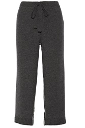 Nina Ricci Cropped Wool Blend And Silk Satin Wide Leg Pants Gray