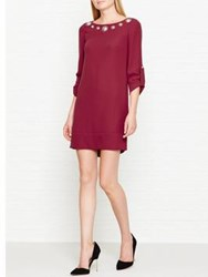 Versus By Versace Lion Embellished Adjustable Sleeve Shift Dress Burgundy