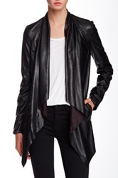 Vakko Faux Leather Draped Jacket Black