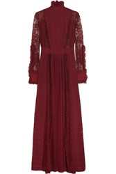 Just Cavalli Plisse Chiffon And Cotton Blend Lace Gown Burgundy