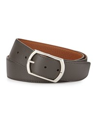 Simonnot Godard Reversible Leather Belt Gray To Light Brown