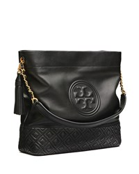 Tory Burch Fleming Quilted Leather Hobo Bag Black