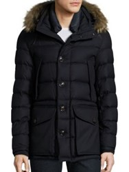 Moncler Rethel Fur Trim Wool Down Puffer Jacket Dark Blue